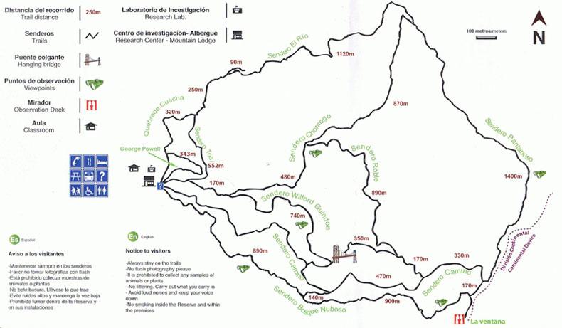 Mapa de los senderos de la Reserva Biológica Bosque Nuboso Monteverde