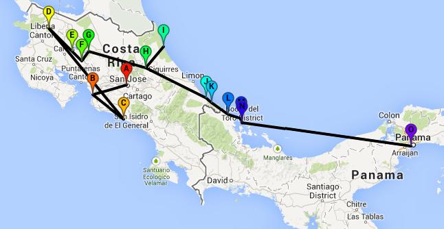 Nuestra ruta por Costa Rica y Bocas del Toro, clica en el mapa para ver detalles en Google Maps