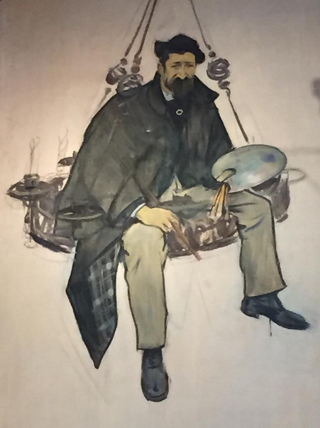 Caricatura de Santiago Rusiñol por su amigo el también pintor Ramon Casas. La leyenda dice que Rusiñol se encaramó a una lámpara para ajustarla y Casas le retiró la escalera...