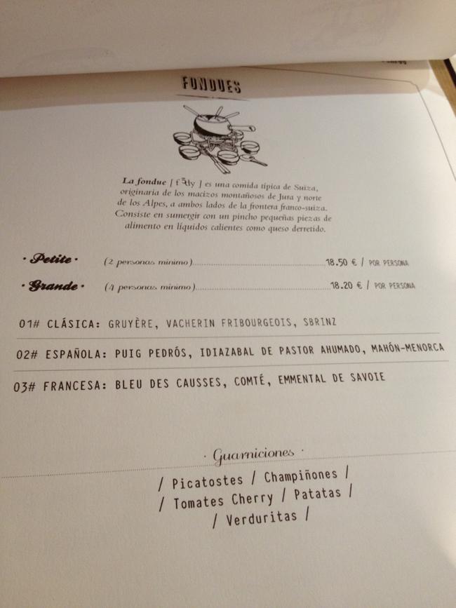 carta de fondues