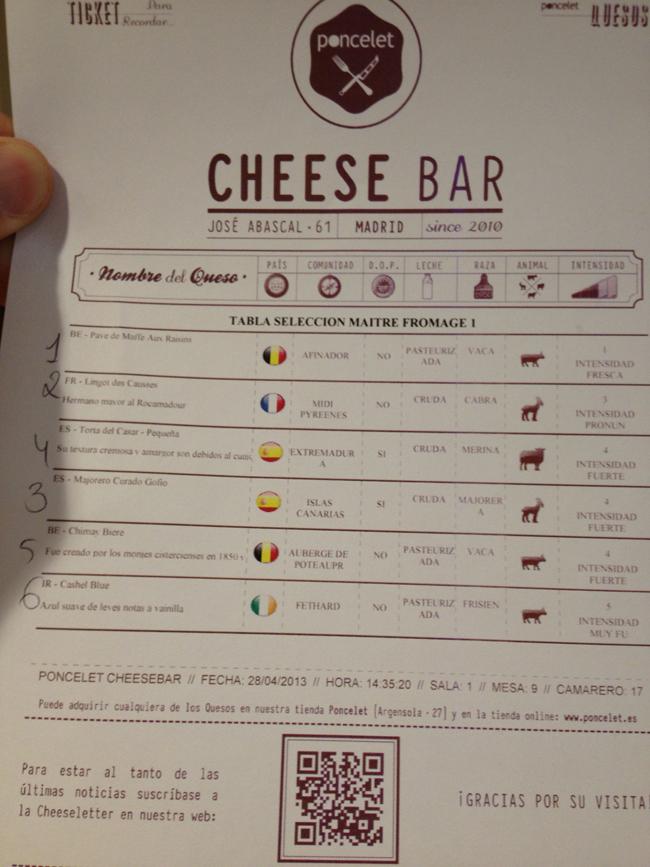 Una carta te explica cada queso y el orden de cata sugerido