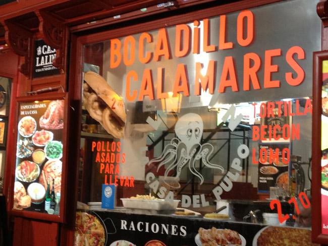 Bocadillos de calamares en Madrid