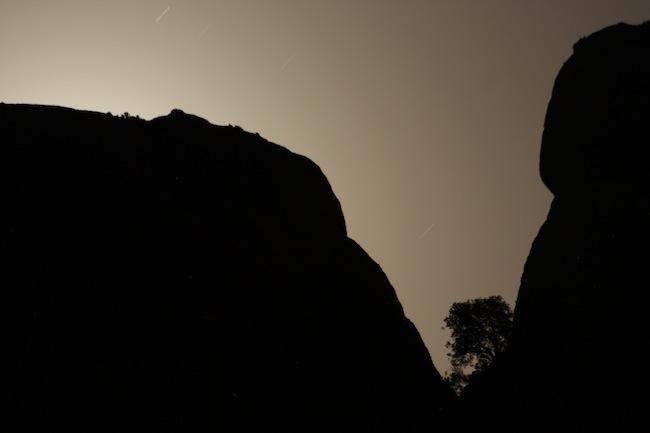 Con el tele vi la situeta de ese árbol recortándose en el brillo de la luna en Montserrat