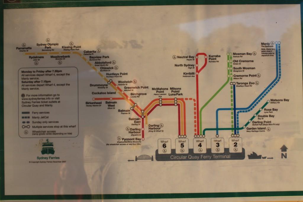 sydney ferry mapa