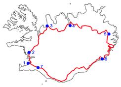 recorrido de la Hringvegur, la ruta que le da la vuelta a Islandia