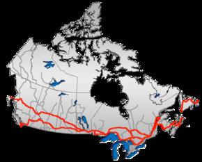 La autopista transcanada cruza el país del Quebec al pacífico