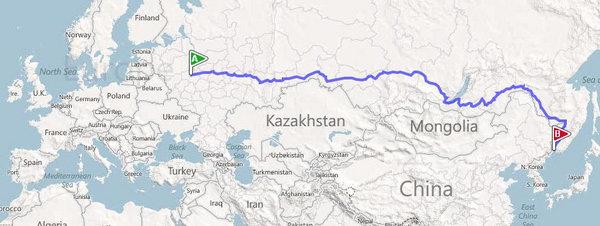 Trayecto Moscú - Vladivostok